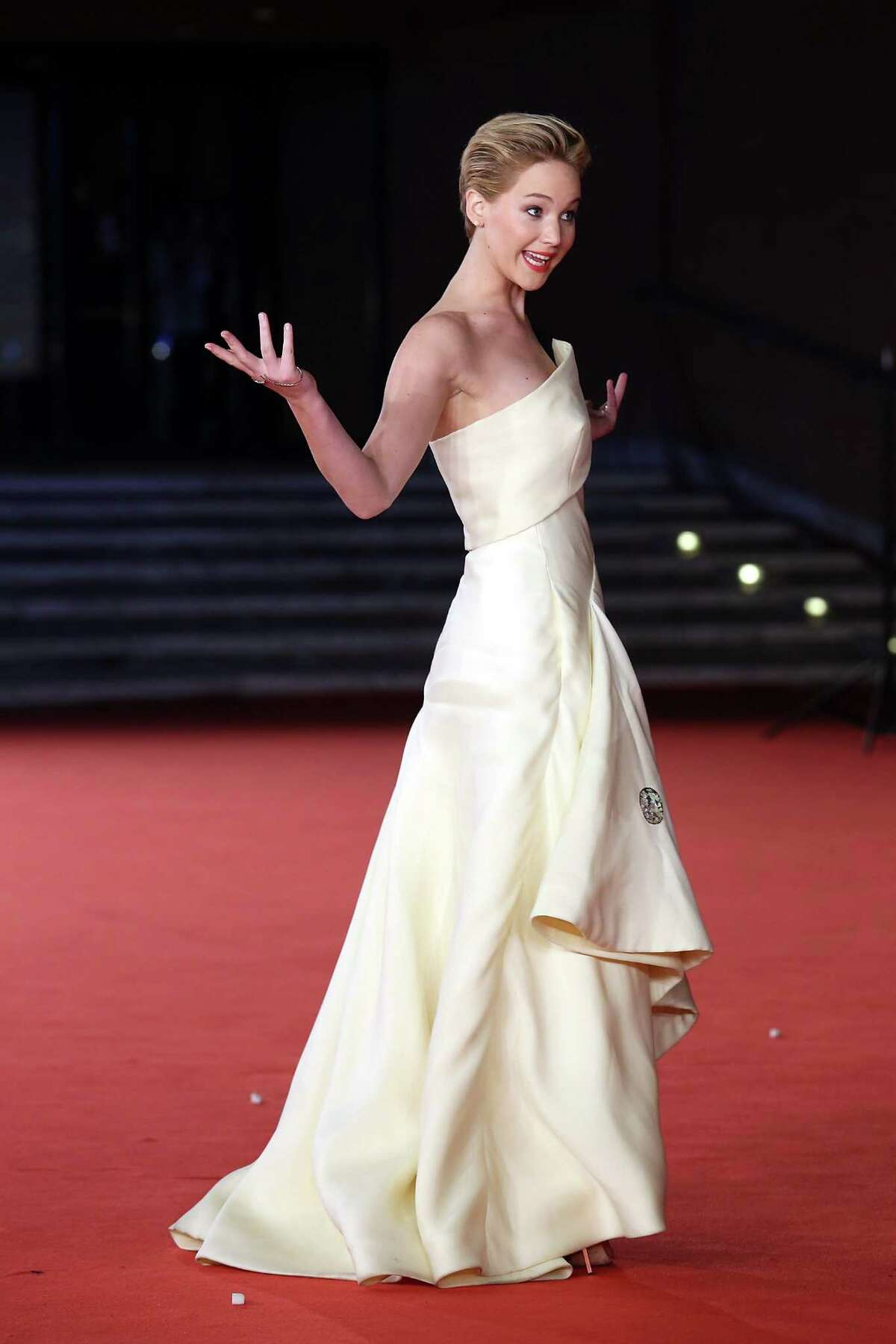 Actress Jennifer Lawrence attends 'The Hunger Games: Catching Fire' Premiere during The 8th Rome Film Festival on November 14, 2013 in Rome, Italy.
