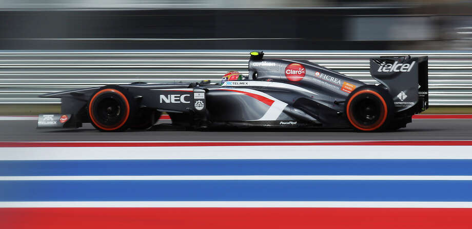 Sauber F1 driver Esteban Gutierrez qualifies for 10th position during the qualifying session at the Formula One United States Grand Prix at the Circuit of the Americas near Austin, Texas on Saturday, Nov. 16, 2013. The top three qualifiers are in order: Current World Champion Sebastian Vettel, Vettel's teammate Mark Webber and Lotus F1 driver Romain Grosjean. Photo: Kin Man Hui, San Antonio Express-News / ©2013 San Antonio Express-News