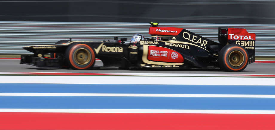 Lotus F1 driver Romain Grosjean qualifies for third during the qualifying session at the Formula One United States Grand Prix at the Circuit of the Americas near Austin, Texas on Saturday, Nov. 16, 2013. The top three qualifiers are in order: Current World Champion Sebastian Vettel, Vettel's teammate Mark Webber and Grosjean. Photo: Kin Man Hui, San Antonio Express-News / ©2013 San Antonio Express-News