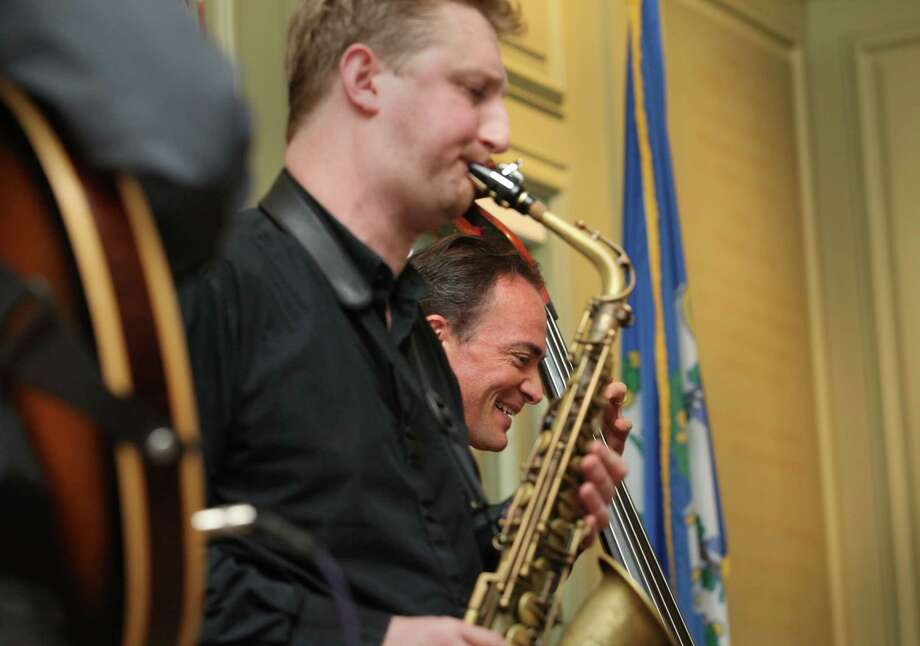 Members of  the Sean Smith quartet Loren Stillman, left, and Sean Smith play at the Fairfield Public Library on Sunday, Nov. 17, 2013. Photo: BK Angeletti, B.K. Angeletti / Connecticut Post freelance B.K. Angeletti