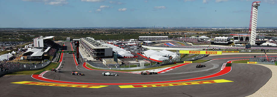A bird's eye view of The Formula One United States Grand Prix at the Circuit of the Americas near Austin, Texas on Sunday, Nov. 17,  2013. Current World Champion Sebastian Vettle finished first followed by Lotus F1's Romain Grojean and in third was Vettel's teammate, Mark Webber. Photo: Kin Man Hui, San Antonio Express-News / ©2013 San Antonio Express-News