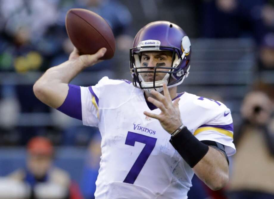 Minnesota Vikings quarterback Christian Ponder throws against the Seattle Seahawks in the first half of an NFL football game Sunday, Nov. 17, 2013, in Seattle. (AP Photo/Ted S. Warren) Photo: ASSOCIATED PRESS