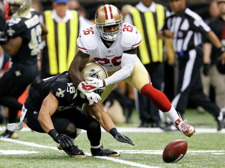NEW ORLEANS, LA - NOVEMBER 17:  Tramaine Brock #26 of the San Francisco 49ers breaks up a pass intended for Lance Moore #16 of the New Orleans Saints at Mercedes-Benz Superdome on November 17, 2013 in New Orleans, Louisiana.  (Photo by Kevin C. Cox/Getty Images) Photo: Kevin C. Cox / Getty Images / 2013 Getty Images