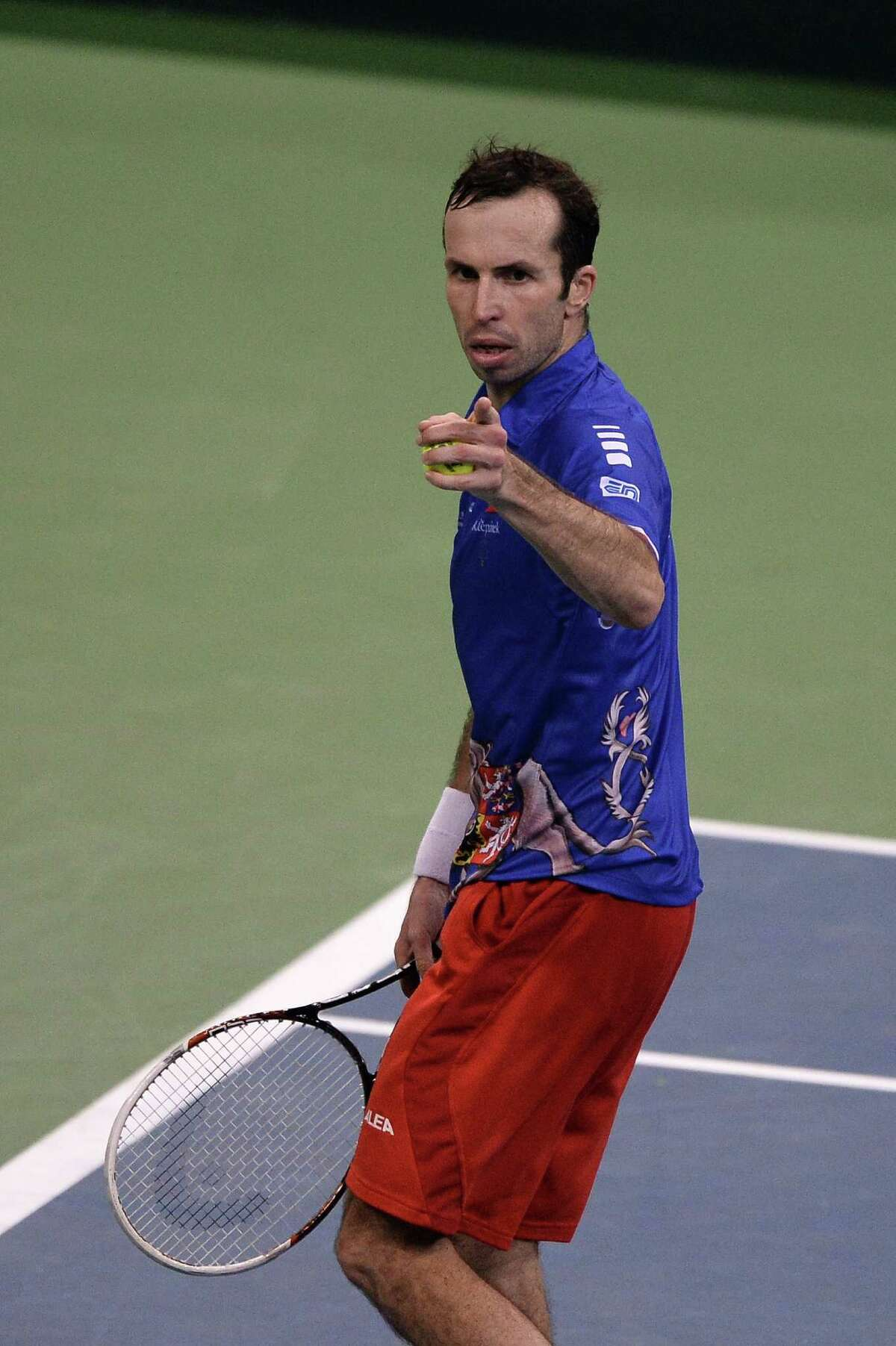 Czech Rebublic's Radek Stepanek jubilates after winning against Serbia's Dusan Lajovic during the Davis Cup final between Serbia and the Czech Republic at the Kombank Arena in Belgrade on November 17, 2013. The Czech Republic defended the Davis Cup title after Radek Stepanek beat Serbian youngster Dusan Lajovic in the decisive fifth final rubber in straight sets on November 17, 2013. AFP PHOTO / DIMITAR DILKOFFDIMITAR DILKOFF/AFP/Getty Images ORG XMIT: -