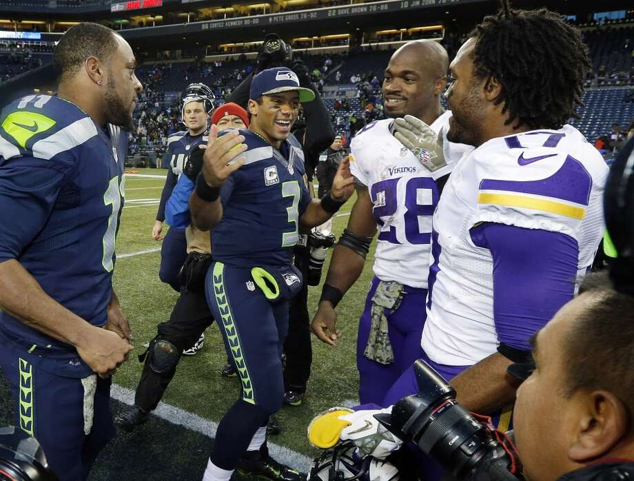 """Greats and goats: Seahawks demolish VikingsFor the second-straight week the Seahawks put together a complete game in all phases, and for the second-straight week the Seahawks dominated their opponent. On Sunday, Seattle's victim was the Minnesota Vikings, the latest team to come into CenturyLink Field and leave with another notch in the loss column. With Sunday's 41-20 victory, the Seahawks improved to 10-1 for the first time in franchise history and won their 13th-consecutive game at home -- a team record.  And, like last week, while it was easy to identify Seattle's """"greats"""" Sunday, it was difficult to pick any Seahawks who were """"goats"""" in the victory over Minnesota. As such, instead of picking three greats and three goats, we've picked five greats and just one big, ongoing problem. Click through the gallery for our Seahawks MVPs, then vote below for your choice for Seattle's """"great"""" of Sunday's game.— Nick Eaton Photo: Ted S. Warren, Associated Press"""