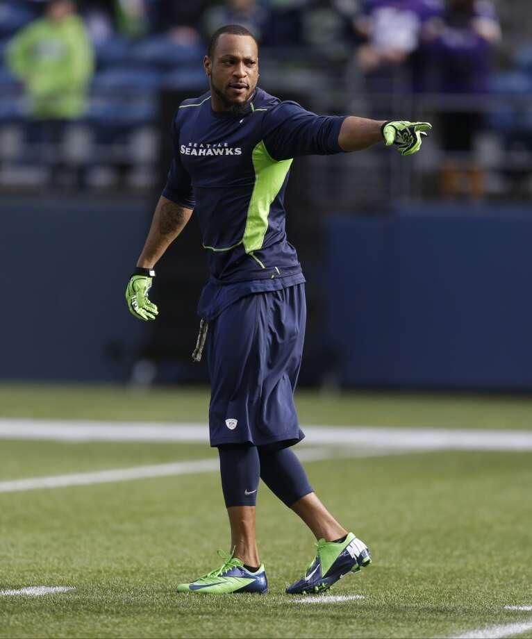 Seattle Seahawks' Percy Harvin motions as he warms-up on the field before an NFL football game against the Minnesota Vikings, Sunday, Nov. 17, 2013, in Seattle. (AP Photo/Ted S. Warren) Photo: Ted S. Warren, AP