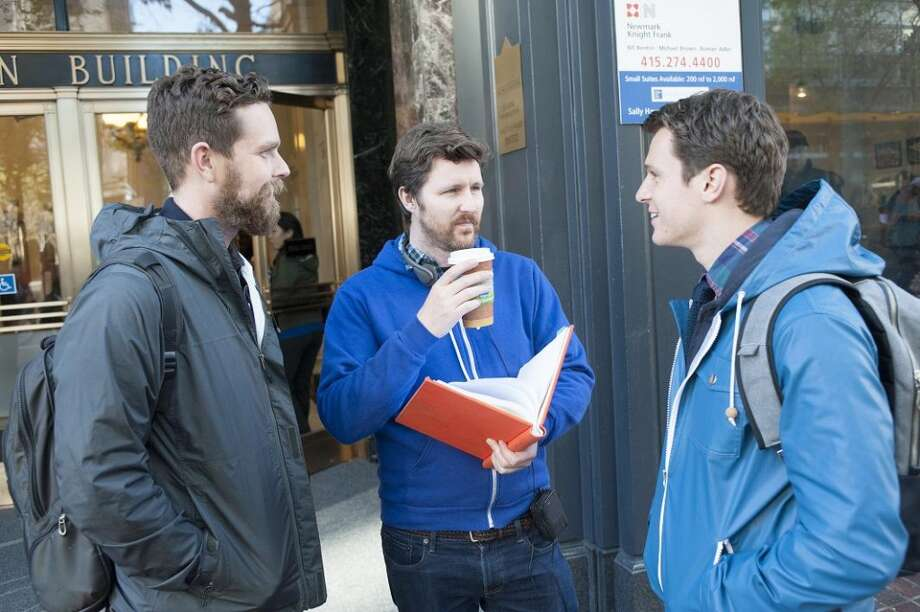 """Looking"" creator Michael Lannan and director/co-executive producer Andrew Haigh, with lead actor Jonathan Groff. Photo: David Moir, HBO"