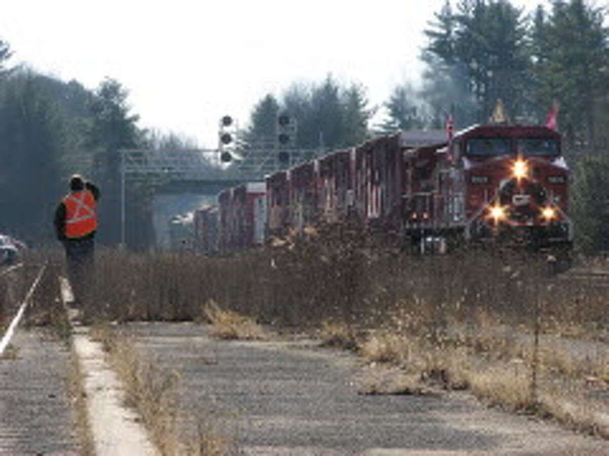The Canadian Pacific Holiday Train pulls into the Amtrak Train Station in Saratoga Springs on Monday, Nov. 29, 2010. (Paul Buckowski / Times Union archive)