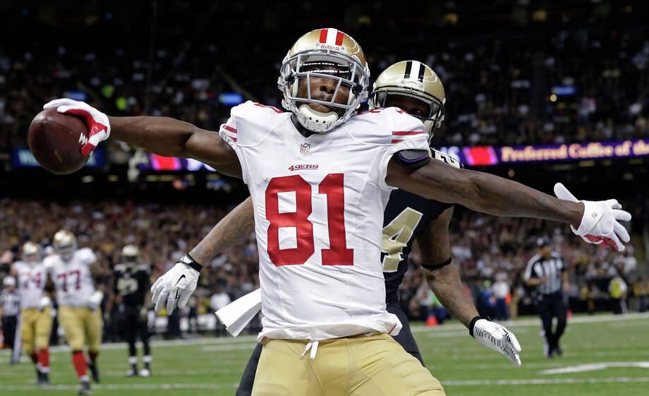 San Francisco 49ers wide receiver Anquan Boldin (81) celebrates his touchdown reception in the first half of an NFL football game in New Orleans, Sunday, Nov. 17, 2013. Photo: Dave Martin, AP / AP