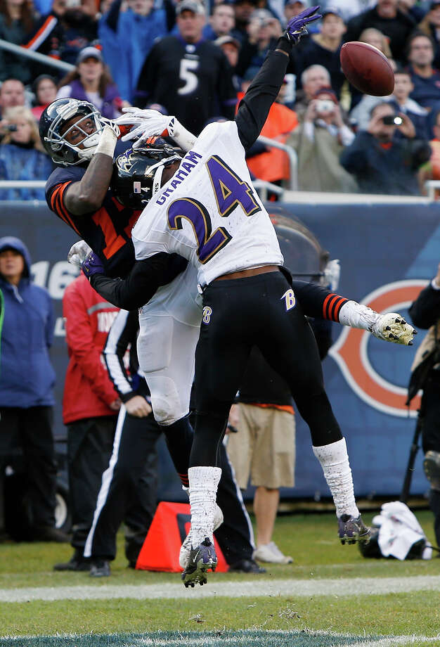 Baltimore Ravens cornerback Corey Graham (24) breaks up a pass intended for Chicago Bears wide receiver Alshon Jeffery (17) in the end zone during the first half of an NFL football game, Sunday, Nov. 17, 2013, in Chicago. Photo: Charles Rex Arbogast, AP / AP