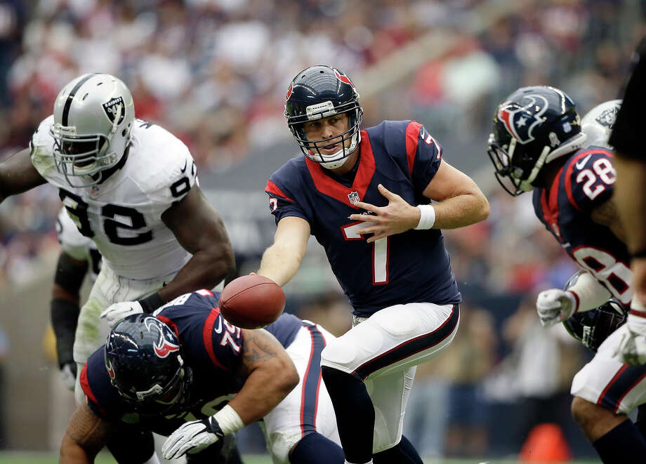 Houston Texans' Case Keenum during the first half of an NFL football game against the Oakland Raiders Sunday, Nov. 17, 2013, in Houston. Photo: Tony Gutierrez, AP / AP