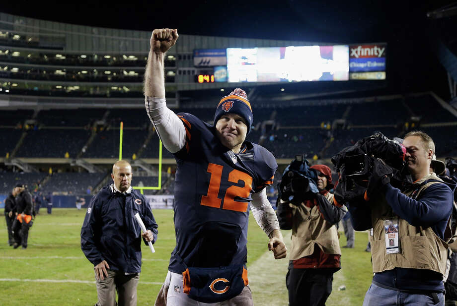 Chicago Bears quarterback Josh McCown (12) celebrates after the Bears' 23-20 win over the Baltimore Ravens in overtime in an NFL football game, Sunday, Nov. 17, 2013, in Chicago. Photo: Nam Y. Huh, AP / AP