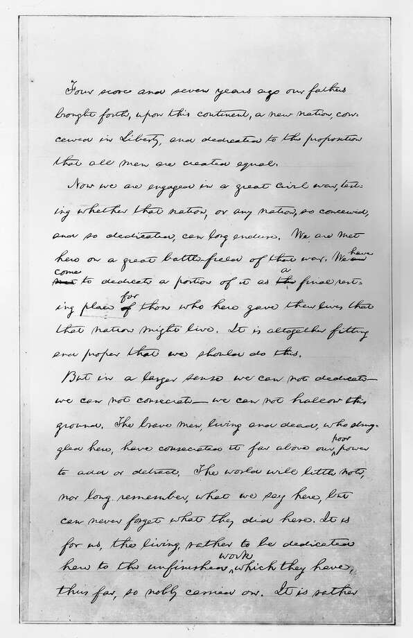 The first page of the second draft of American President Abraham Lincoln's Gettysburg Address, which differs only slightly from the speech he delivered. Photo: MPI, Getty Images / Archive Photos