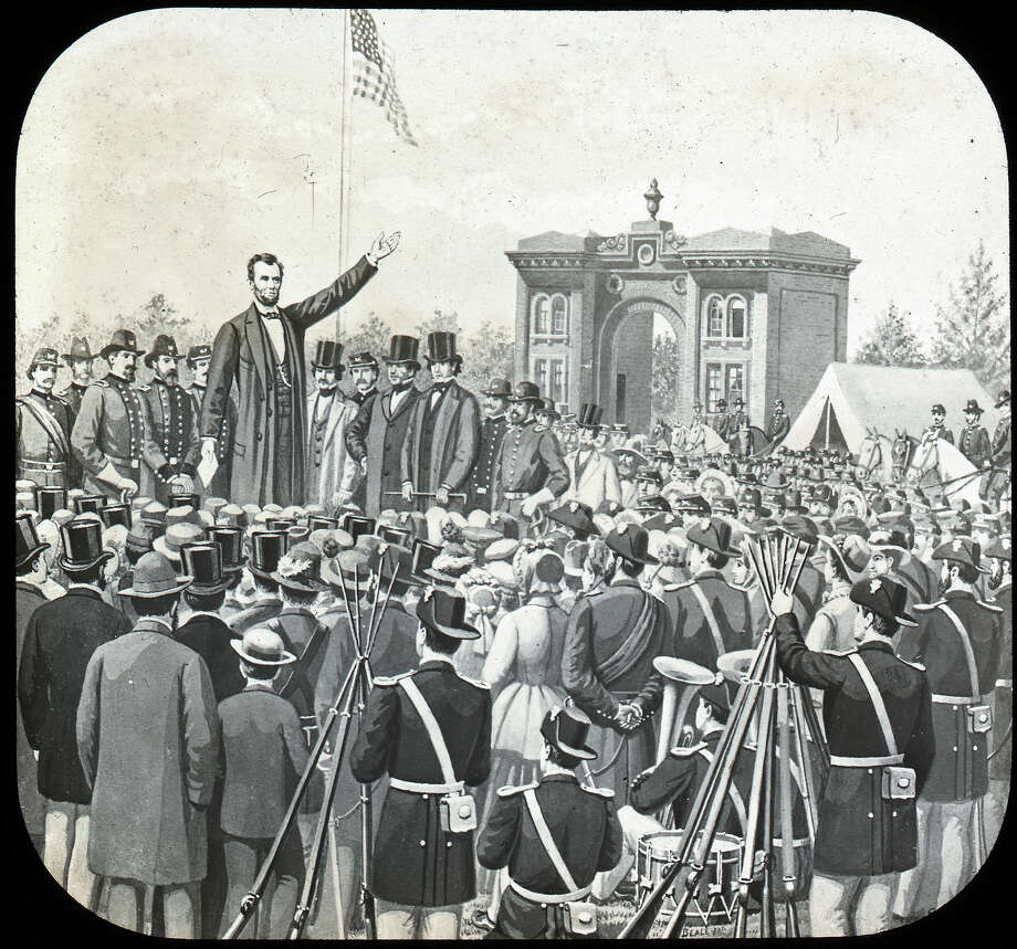 American President Abraham Lincoln (1809 - 1865) raises his hand as he delivers the speech later known as the 'Gettysburg Address' to a large audience, Gettysburg, Pennsylvania, November 19, 1863. The image was published as part of the 'Life of Lincoln' series by the C.W. Briggs Company. Photo: George Eastman House, Getty Images / 2006 Getty Images
