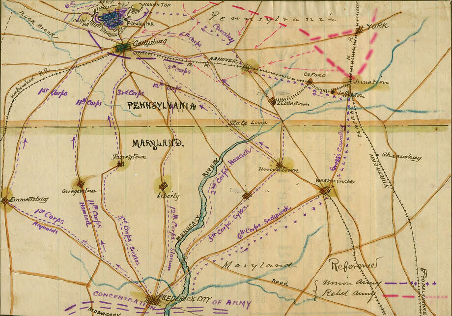 A map depicting the March to Gettysburg. Photo: Buyenlarge, Getty Images / Archive Photos