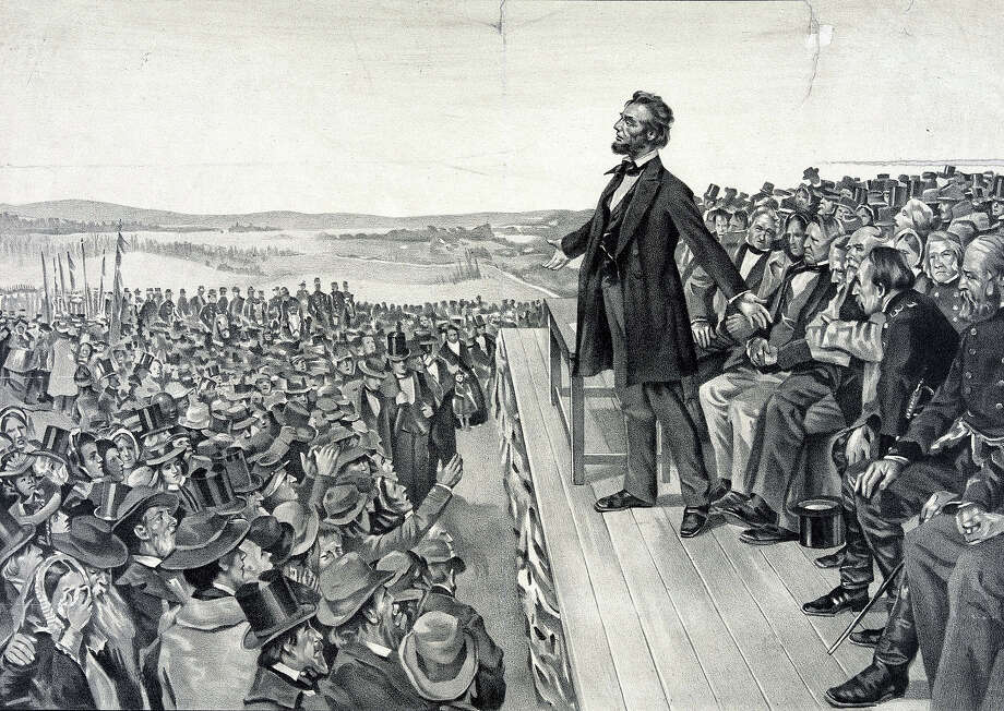 An illustration showing Abraham Lincoln making his famous address on November 19, 1863 at the dedication of the Soldiers' National Cemetery at Gettysburg on the site of the American Civil War battle with the greatest number of casualties. Photo: UniversalImagesGroup, Getty Images / Universal Images Group Editorial