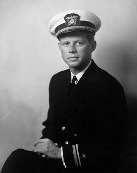 Portrait of John F Kennedy, future US senator and president, wearing his U.S. Navy uniform, circa 1940. During the war, Kennedy served as a PT boat commander in the Pacific, earning medals for rescuing most of his crew after their boat was sunk in action. Photo: Frank Turgent, Getty Images / Archive Photos