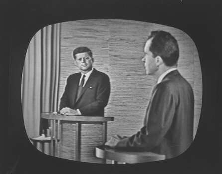 Presidential candidate Richard M. Nixon speaking during a televised debate while fellow candidate John F. Kennedy watches. Photo: Paul Schutzer, Time & Life Pictures/Getty Image / Time Life Pictures