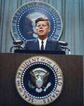 President John F. Kennedy addresses a reporters at a news conference in 1963. Photo: Arnold Sachs, Getty Images / 2008 Getty Images