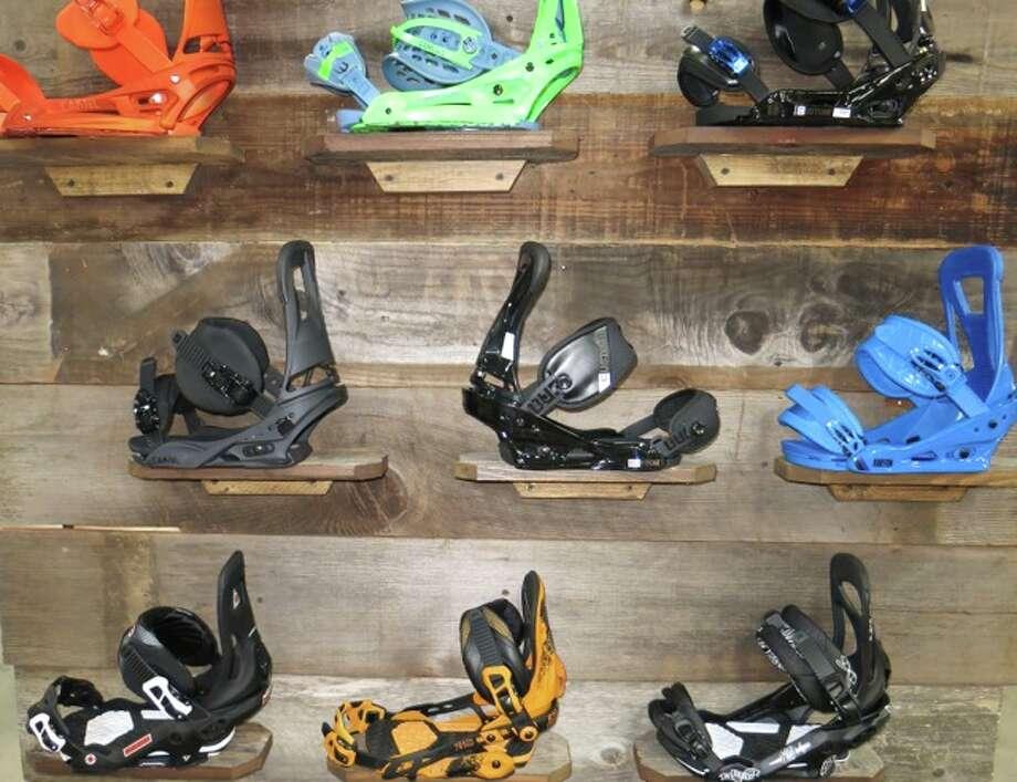 An array of snowboard bindings. Photo: Jules