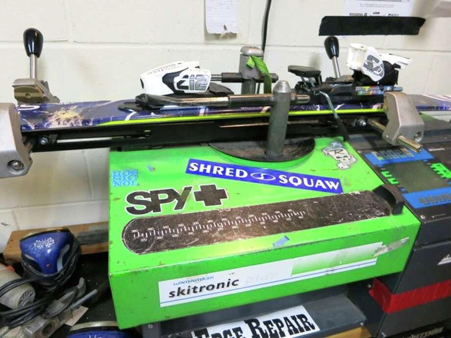 A shot of a ski binding testing machine. Photo: Jules
