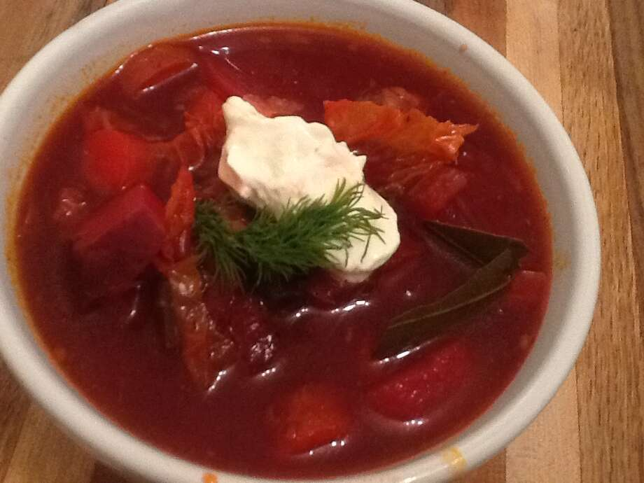 From Klab: I made, ate, and shared this beautiful, flavorful, ruby red borscht, chock full of vegetables and lamb, with my friends over the weekend. Despite making way too much, none is left because we ate it all!