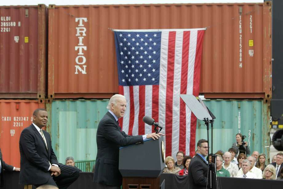 Vice President Joe Biden visits the Port of Houston Bayport Container Terminal Monday, Nov. 18, 2013. Photo: Melissa Phillip