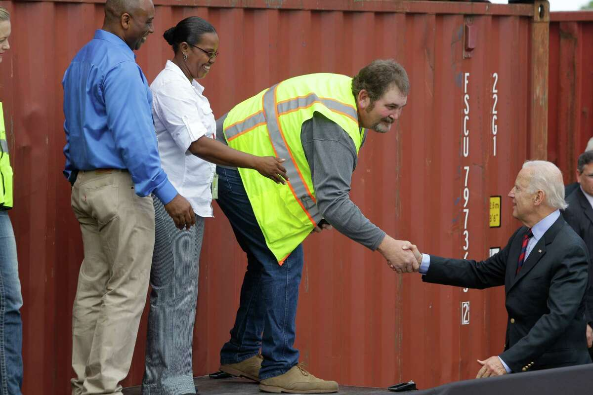 Vice President Joe Biden visits the Port of Houston Bayport Container Terminal Monday, Nov. 18, 2013.