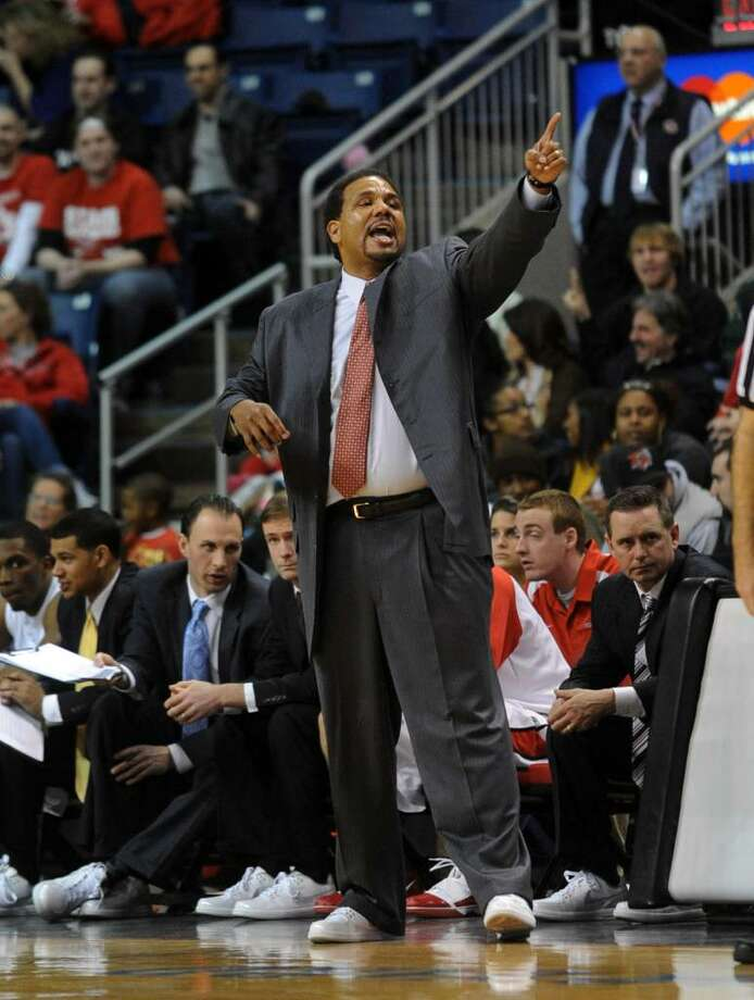 Christian Abraham/Staff photographer Fairfield University's head coach Ed Cooley, during game action against Rider at the Arena at Harbor Yard in Bridgeport, Conn. on Saturday Jan. 30, 2010. Photo: Christian Abraham / Connecticut Post