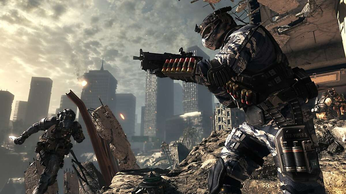 """In an undated handout image, a screenshot from the game """"Call of Duty: Ghosts."""" The latest addition to the series, which has generated more than $1 billion in sales every year since 2009, begins just before an attack on the United States by """"the Federation,"""" a villainous alliance of South American countries. (Activision via The New York Times) -- NO SALES; FOR EDITORIAL USE ONLY WITH STORY SLUGGED GHOSTS GAME REVIEW BY CHRIS SUELLENTROP. ALL OTHER USE PROHIBITED."""
