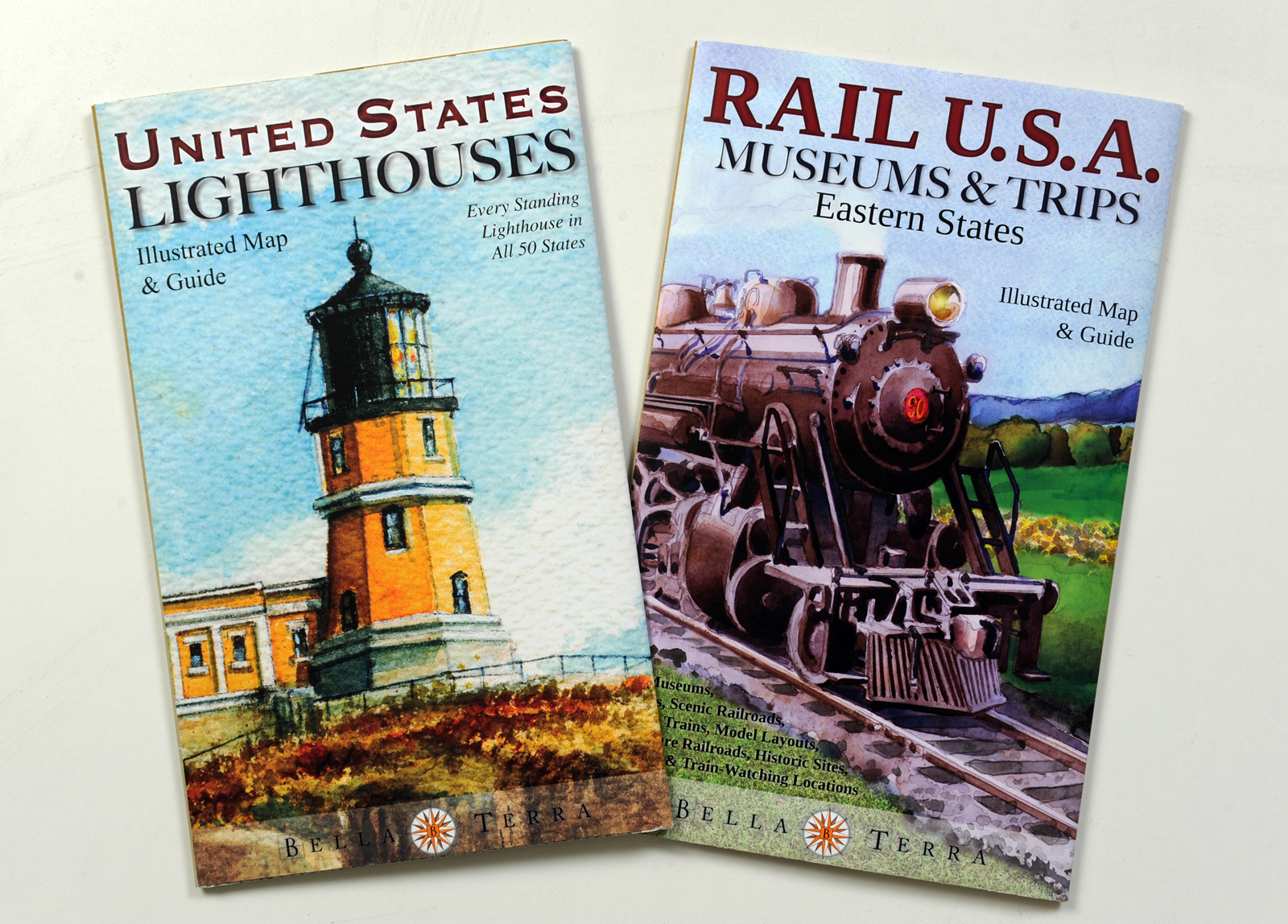 Lighthouses vintage trains subjects for bella terra map publishers