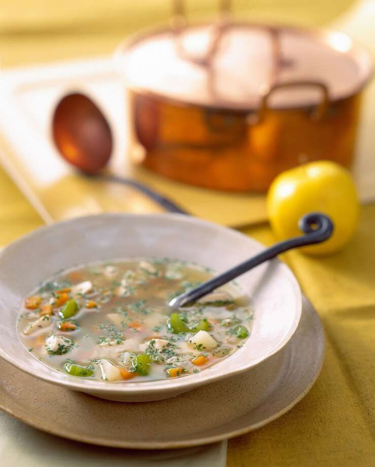 6. Soup   A cup of chicken soup is as appetite blunting as a piece of chicken: That was the finding of a Purdue University study with 18 women and 13 men. Why? Researchers speculate that even the simplest soup satisfies hunger because your brain perceives it as filling.   Reprinted with Permission of Hearst Communications, Inc. Originally Published: 15 Foods to Help You Lose Weight Photo: Steve Cohen, Photolibrary Via Getty Images