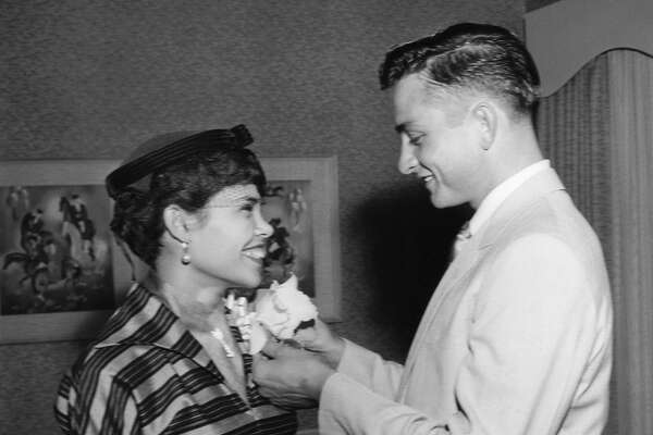 Johnny Cash with his first wife, Vivian Liberto. They were married in San Antonio.