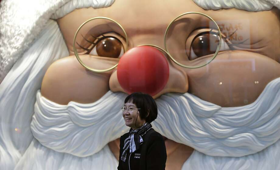 Santa's been drinking again: With a nose that red, he won't need Rudolph to guide his sleigh tonight. (Christmas 