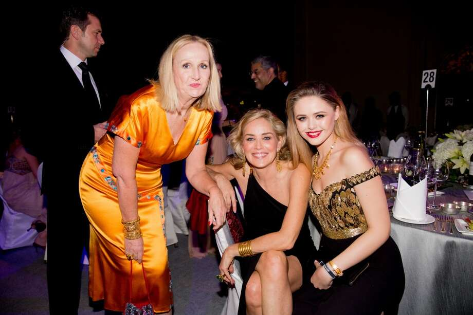 Sally Morrison, Sharon Stone and Kristina Bazan attend the inaugural amfAR India event at the Taj Mahal Palace Mumbai on November 17, 2013 in Mumbai, India. Photo: Kevin Tachman, Getty Images