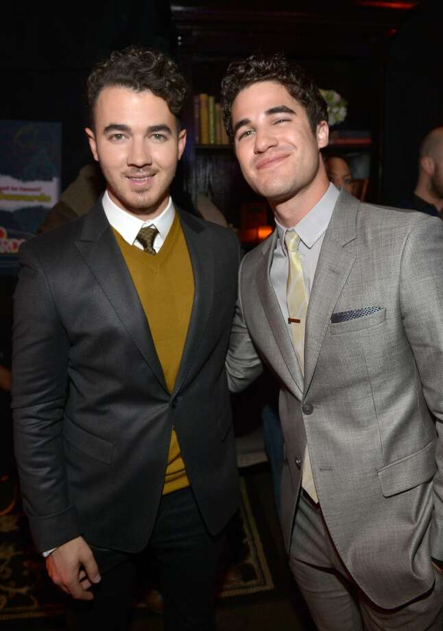 Singer Kevin Jonas (L) and actor Darren Criss attend the 5th Annual TeenNick HALO Awards at Hollywood Palladium on November 17, 2013 in Hollywood, California. Photo: Charley Gallay, Getty Images For Nickelodeon