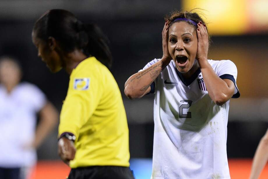 COLUMBUS, OH - OCTOBER 30:  Sydney Leroux #2 of the US WomenÕs National Team reacts to a call from the referee in the first half against New Zealand at Columbus Crew Stadium on October 30, 2013 in Columbus, Ohio. The U.S. and New Zealand played to a 1-1 tie.  (Photo by Jamie Sabau/Getty Images) Photo: Getty Images