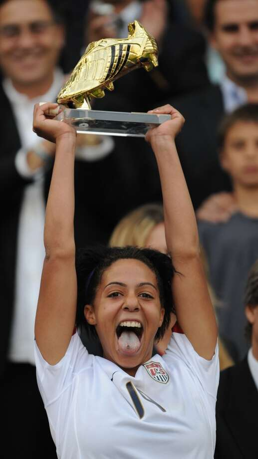 US player Sydney Leroux celebrates after receiving the Golden Boot after her team won the FIFA U20 Women's World Cup 2008 after defeating North Korea in the final match at the Municipal Florida Stadium on December 7, 2008.  AFP PHOTO/Martin Bernetti        (Photo credit should read MARTIN BERNETTI/AFP/Getty Images) Photo: AFP/Getty Images
