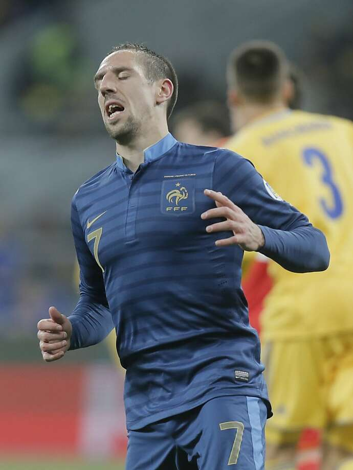 Franck Ribery and France fell to Ukraine in a World Cup qualifying match. Photo: Efrem Lukatsky, Associated Press
