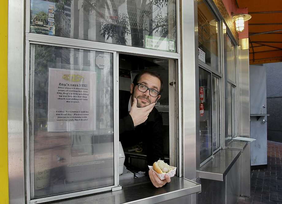"""Zog's Dogs co-owner Jesse """"Zog"""" Herzog  tried to """"reimagine the hot dog experience"""" at his stand. Photo: Brant Ward, The Chronicle"""