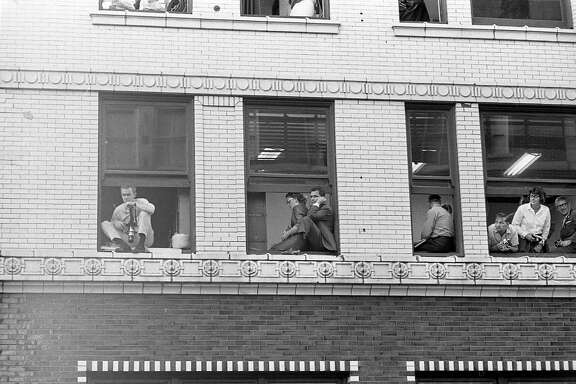Scene at the Houston Chronicle building, Nov. 21, 1963.