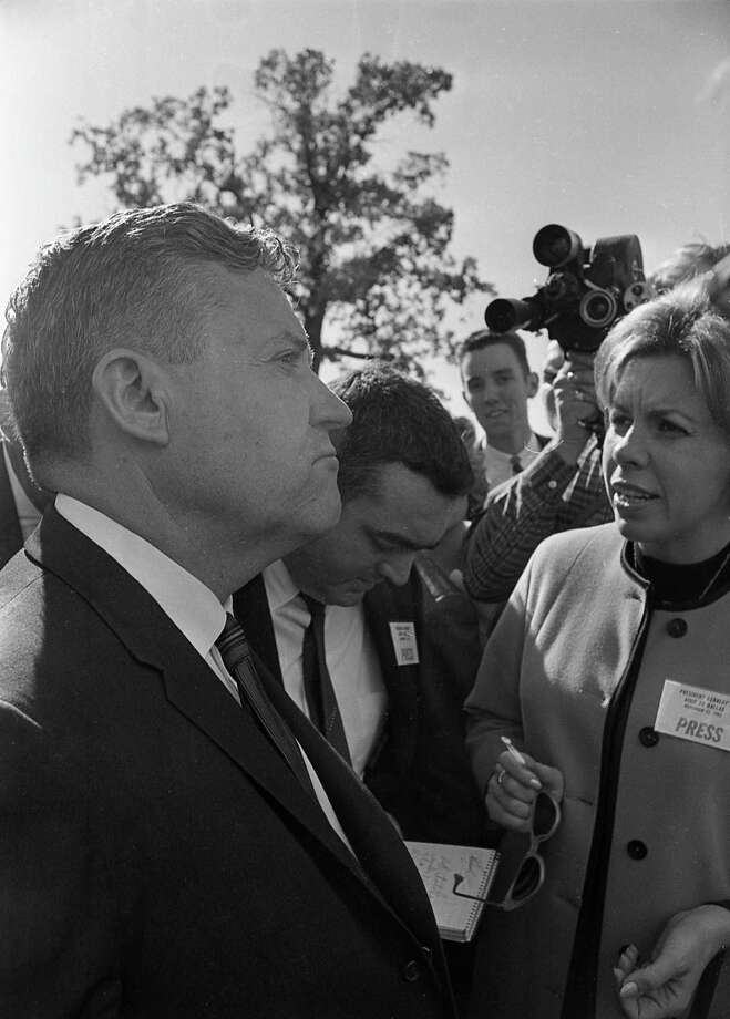 Texas Senator Ralph Yarborough meets with reporters outside Parkland Hospital, following the assassination of President John F. Kennedy. Photo: Houston Chronicle / Houston Chronicle