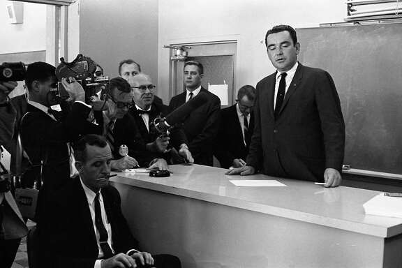 Assistant White House Press Secretary Malcolm Kilduff at Parkland Hospital, Dallas, Texas, Nov. 22, 1963.