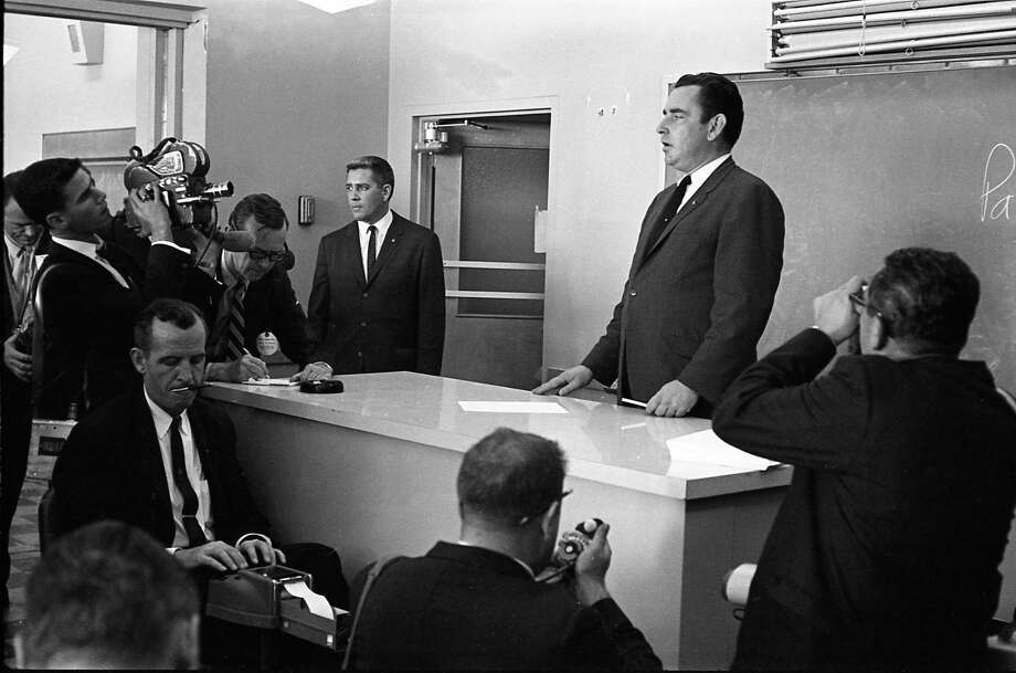 Assistant White House Press Secretary Malcolm Kilduff at Parkland Hospital, Dallas, Texas, Nov. 22, 1963 Photo: Houston Chronicle / Houston Chronicle