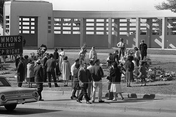 Dallas, Texas, outside the Texas School Book Depository in Dealey Plaza, after the assassination of President John F. Kennedy.