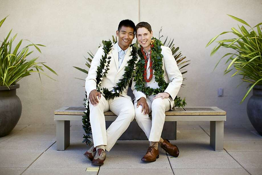 Jonathan Mangosing (left), formerly a dancer with the San Francisco Ballet, and John Walpole, now a technical program manager at Twitter, were married at the St. Regis hotel in August. Photo: William Moran Photography. Photo: William Moran Photography