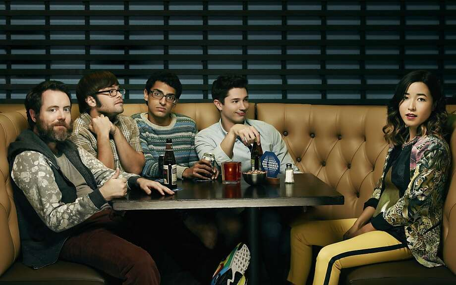 "Jonathan C. Daly (left), Charlie Saxton, Karan Soni, Joe Dinicol and Maya Erskine star in Amazon's series ""Betas."" Photo: Amazon Studio"