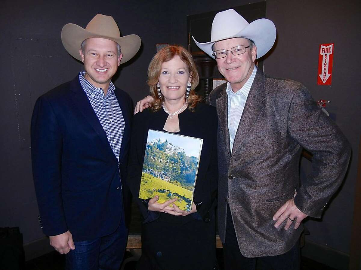 Hearst Corp. Director of Western Real Estate Marty Cepkauskas (at left) with Hearst Castle historian-author Victoria Kastner and Hearst Corp. Western Properties V.P. Steve Hearst at Local Edition for the launch of the new book, Hearst Ranch. Nov. 2013. By Catherine Bigelow