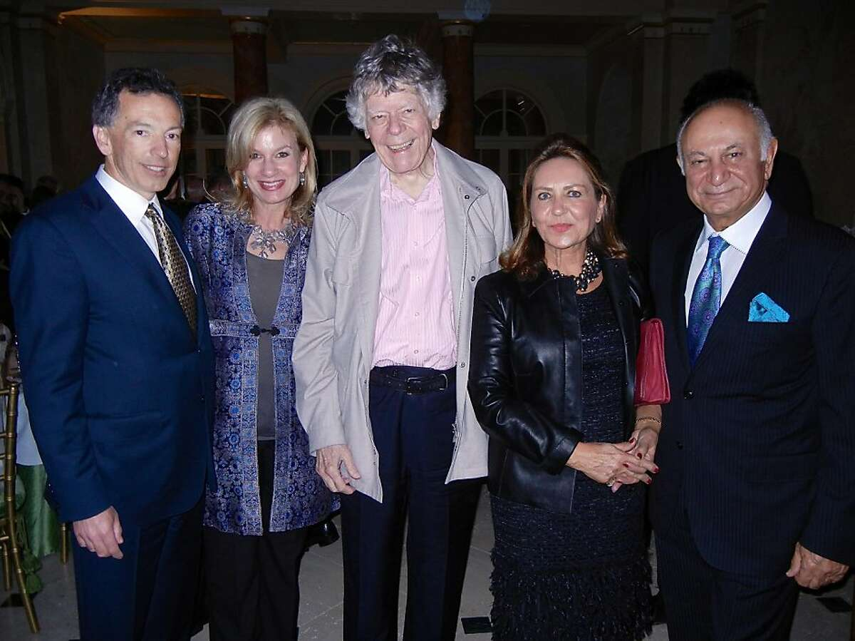 Festival del Sole Director Rick Walker (at left) with his wife, Karen, composer Gordon Getty, Shahpar Khaledi and her husband, Festival Board President Darioush Khaledi at the Getty home for a thank you dinner. Nov 2013. By Catherine Bigelow