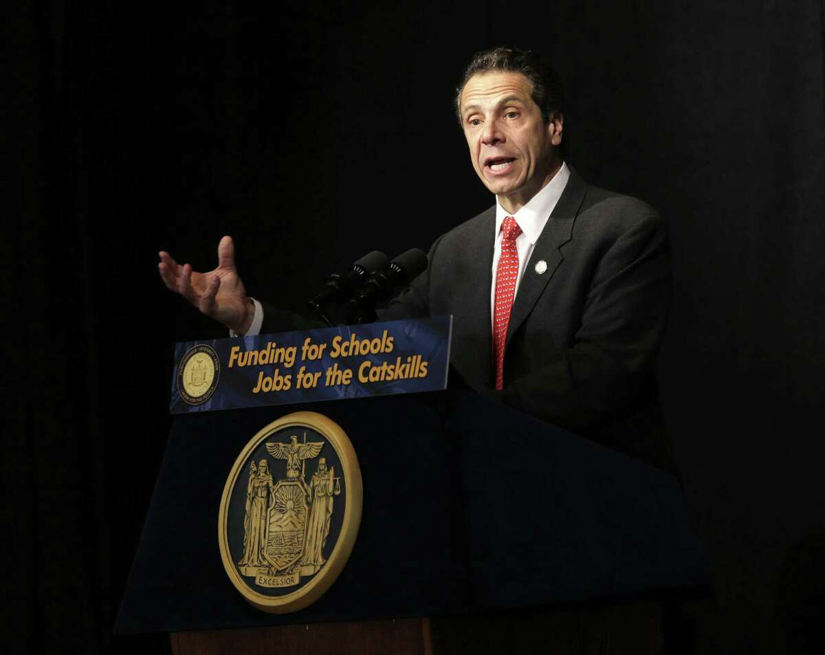 New York State Governor Andrew Cuomo speaks during a news conference in Bethel, N.Y., Wednesday, Nov. 6, 2013. Cuomo was there to speak about the vote that approved an amendment to the state constitution that authorizes seven Las Vegas-style casinos. Two will be in the Catskill-Hudson Valley region, where some potential sites include old Borscht Belt hotels. (AP Photo/Seth Wenig) ORG XMIT: NYSW107